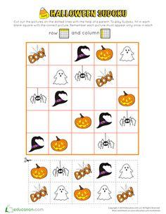 First Grade Holidays & Seasons Worksheets: Spooky Halloween Sudoku Challenge Spooky Halloween, Halloween Themes, Math Games, Math Activities, Seasons Worksheets, Halloween Worksheets, Sudoku Puzzles, Scissor Skills, Halloween Pictures