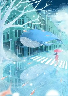 A whale of a dream. Manga Art, Anime Art, Anime Quotes Tumblr, Anime Body, Anime Pokemon, Anime Plus, Dibujos Cute, Anime Scenery, Art Plastique