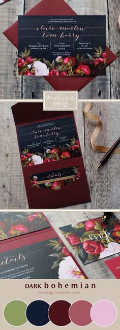 Marsala & Navy Floral Wedding Invitation Suite, perfect for a boho styled wedding day