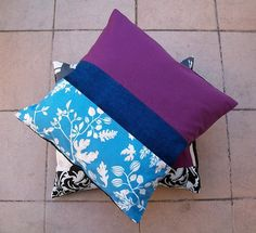 Patchwork Pillowcase in Blue and Purple