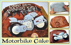 Tutorial with instructions on how to carve and decorate an easy motorcycle cake design (a. motorbike, dirt bike, moped, or scooter). Round Cake Pans, Round Cakes, Car Cake Tutorial, Boat Cake, Piano Cakes, Motorcycle Cake, Standard Recipe, Cup Of Rice, Handbag Cakes
