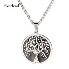 Fashion Tree of Life chain necklace pendant Stainless steel Round Pendant For women and men Charm Gift with free jewelry box