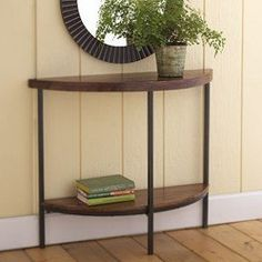 Narrow Foyer Table brian paquette entryway // gold table with glass top and woven