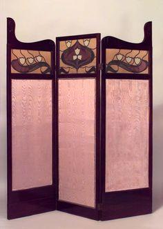 Art Nouveau Art Nouveau screen 3 fold mahogany