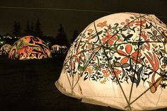 decorated tents