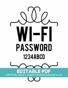 Put password, print, frame, and put in guest bedroom!  http://www.awell-featherednest.com/
