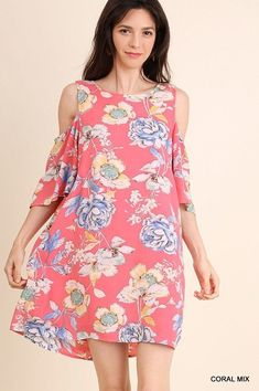 bf466bee7bebb1 UMGEE cold shoulder floral ruffle bell sleeve boho tunic dress S M L