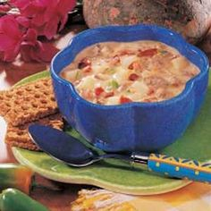 Spicy Cheeseburger Soup Recipe -This creamy soup brings my family to the table in a hurry. I love the warming zip of cayenne, but it also tastes terrific without it if you like milder flavor. With a few simple side dishes, this soup is a full meal. Home Recipes, Cooking Recipes, Pasta Recipes, Cooking Tips, Cheeseburger Soup, Cheeseburger Paradise, Cheese Burger Soup Recipes, Cheese Soup, Personal Recipe