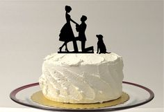WITH DOG Wedding Cake Topper Silhouette Engagement Cake Topper Bride + Groom + Dog Pet Family of 3 Cake Topper Bride Groom Dog Cake Topper by CreativeButterflyXOX on Etsy https://www.etsy.com/listing/198110804/with-dog-wedding-cake-topper-silhouette