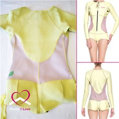 High Quality Women Wetsuit Pastel Yellow&Pink Long Sleeve&Cheeky Shorty Size M Newest design ladies long sleeve springsuit style neoprene wetsuit. Beautiful pastel yellow color with pastel pink sides. Front zip, cheeky cut bottom with the side ties for easy adjustments. Highest quality 2 mm neoprene fabric laminated with nylon from both inside and outside. Perfect for any water activity – surfing, jetskiing, stand up peddling, snorkeling etc...   Price: $85.00 Water Activities, Pastel Yellow, Jet Ski, Wetsuit, Lady, Long Sleeve, Fabric, Swimwear, Tela