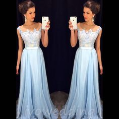 Lace Prom Dresses,Light Sky Blue Prom Dress,Modest Prom Gown,A Line Prom Gown,