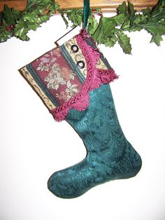 Victorian Christmas Stocking Green and Burgandy by civilwarlady