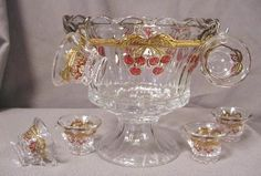 Children's Crystal Handpainted Cherry & Cable Pattern Miniature Punch Bowl Set Punch Bowl Set, Glass Collection, Serving Dishes, Bowls, Miniatures, Hand Painted, Crystals, Cherry, Cable