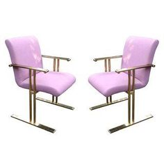 Rare Brass Arm Chairs by Directional - A Pair