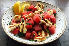 The watermelon and fresh mint offer a zingy background to the salty, warm, griddled halloumi cheese in this salad from Cyprus.