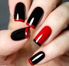 Lovely shine black nail art with red layer style
