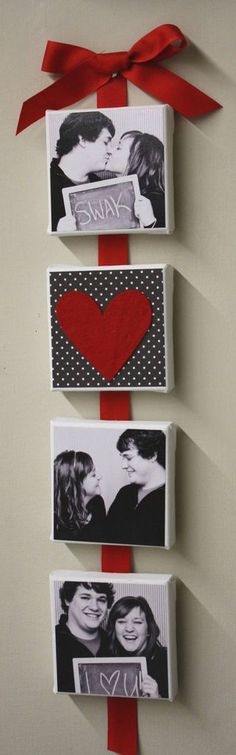 Attach pictures on canvas to ribbon