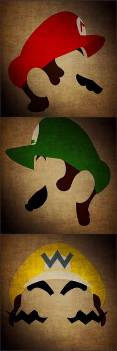Super Mario Brothers Minimalist Paintings - could do wood cutouts of these for the theater.