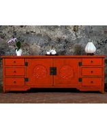 qingart - I like this but perhaps with an additional 4th drawer on each side? - Low Ningbo Sideboard Orange - Chinese Furniture Low Ningbo Sideboard Orange Contemporary Handmade Chinese Furniture [] - £1,200.00 : Qing Art - Chinese Furniture, Soft Furnishings, Lighting, Contemporary Oriental Interiors