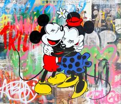 Mr. Brainwash  Mickey & Minnie, 2015  Stencil and Mixed Media on Paper  111.8 x 96.5 cm // Signed on recto and verso // Unique