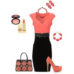 Coral with black, i love this look