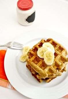 Roasted Banana Bread Waffles