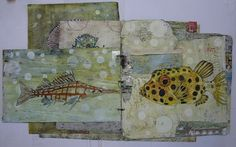 mixed media on junk mail paper by Francoise Barnes -- composition Artist Journal, Artist Sketchbook, Mixed Media Collage, Collage Art, Collages, Art Journal Techniques, Altered Art, Altered Books, Handmade Books