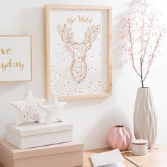 Picture deer trophy made of wood 33 x 44 cm BE WILD - Decoration Trends Gold Rooms, Gold Bedroom, Marble Bedroom, Pastel Bedroom, My Room, Girl Room, Diy Room Decor, Bedroom Decor, Home Decor
