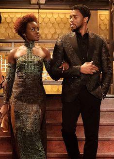 Lupita Nyong'o and Chadwick Boseman in the Black Panther