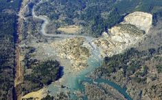 A better view of the Oso Slide from above the Stillaguamish River, Washington,, showing the rotational slump associated with the landslide.  Whilst referring to this as the Oso landslip, in fact it is a reactivation of an existing landslide, known as the Hazel Landslide.  This landslide moved 1988, and again in 2006.  It is well described in a blog post from 2009 that can be found at: https://slidingthought.wordpress.com/tag/north-fork-of-stillaguamish/