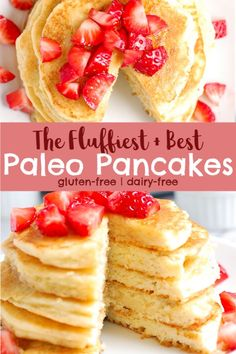 best fluffy paleo pancakes are the best homemade pancakes ever! Made with almond flour and tapioca flour, they turn out perfectly light, fluffy, golden, and can be made with coconut or almond milk! No Flour Pancakes, Gluten Free Pancakes, Breakfast Pancakes, Paleo Pancakes Coconut Flour, Tapioca Flour Recipes, Paleo Breakfast Casserole, Breakfast Recipes, Mexican Breakfast, Clean Eating Snacks