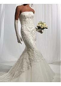 Beautiful Elegant Satin  & lace & tulle Mermaid Strapless Wedding Dress In Great Handwork #Dressilyme