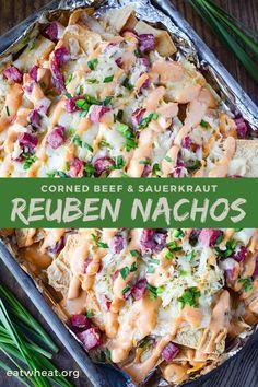 Reuben Nachos | Corned Beef & Sauerkraut | St. Patrick's | EatWheat.org Irish Recipes, Beef Recipes, Vegetarian Recipes, Cooking Recipes, Healthy Recipes, Pasta Recipes, Healthy Food, Yummy Food, Bon Appetit