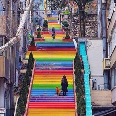 The rainbow steps in Istanbul, Turkey!