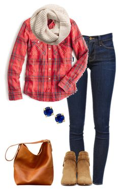"""""""Untitled #108"""" by blue-blondie89 ❤ liked on Polyvore featuring Frame Denim, J.Crew, H&M, Yves Saint Laurent and Kate Spade"""