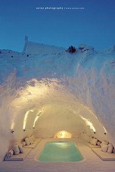 cave hot tub, santorini, greece.