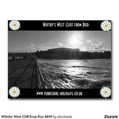 Whitby West Cliff from Pier B&W Postcard