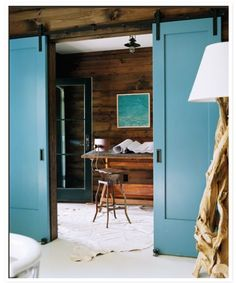 Love the color on these barn doors. And I like the double doors. Wish I knew where I found this, or I would give credit. Saved in my files for a while though.