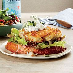 Open-Faced Crab Cake Sandwiches with Tzatziki | MyRecipes.com
