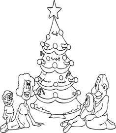 Christmas Tree And The Family Coloring Page