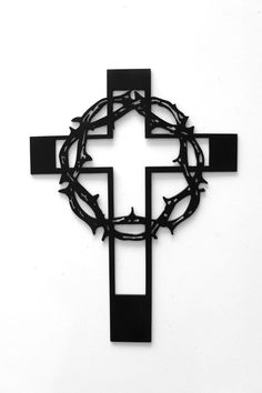 Small Crown of Thorns Metal Cross by RillaBee on Etsy, $45.00