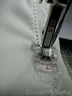 SewNso's Sewing Journal: {Applying Lace & Pin stitching} a very nice finish on the lace. Sewing Tutorials, Sewing Crafts, Sewing Projects, Sewing Tips, Sewing Ideas, Techniques Couture, Sewing Techniques, Sewing Lace, Hand Sewing