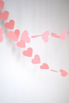 NEW Romantic Paper Hearts Garland pink by thePathLessTraveled, $8.50