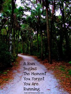 A run begins the moment that you forget you are running.