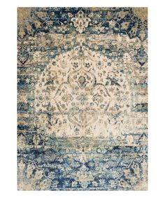 Blue & Ivory Abstract Rug