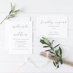 Melinda Wedding Suite - DEPOSIT - Wedding Invitation, Simple Wedding Invitation, White & Grey Wedding Invitations, Modern Script by JakbernCreative on Etsy