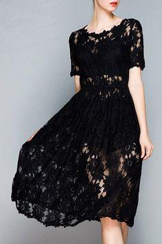 Openwork Lace Hook Black Dress
