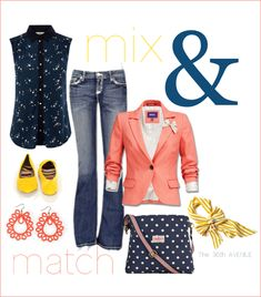 Coral, navy, yellow. Super cute! the36thavenue.com { Link to items on the blog}