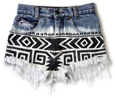 boho patter jean shorts