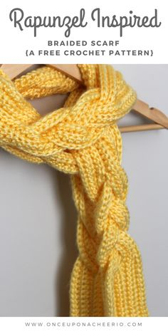 Beautiful crocheted braided scarf inspired by Rapunzel's braided long hair. Perfect for Disney bounds.